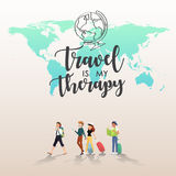 Traveling around the word with friends illustration design.  Stock Images