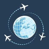 Traveling around the world by air transport Stock Photos