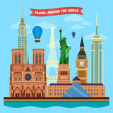 Traveling Around the World Banner Stock Photos