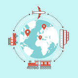 Traveling around the world by different transportation Royalty Free Stock Images