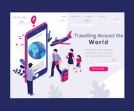 Traveling around the World Isometric Artwork Concept stock illustration