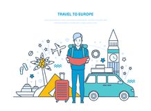 Traveling around world. Traveling by car, through Europe, tropical countries. Stock Images
