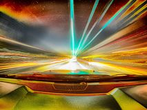Traveling At Speed Of Light Abstract Long Exposure In A Car Royalty Free Stock Photography