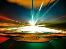 Traveling At Speed Of Light Abstract Long Exposure In A Car Stock Images