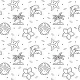 Traveling background. Seamless pattern with starfish, dolphins, Stock Image