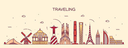 Traveling background skyline detailed silhouette Royalty Free Stock Photo