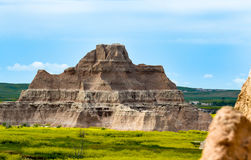 Traveling Through the Badlands of North Dakota. Inside this national park is this rock formation showing the weathered striation of the rock and the vast royalty free stock photography