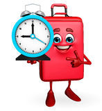 Traveling bag Chatacter with table clock Royalty Free Stock Images