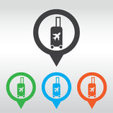 Traveling bag - Vector illustration isolated, icon map pin Stock Photo