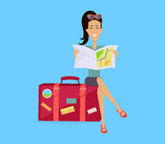 Traveling with Baggage Concept Illustration Stock Photography
