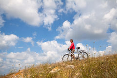 Traveling with bike Stock Photography
