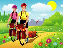 Traveling bikers illustration Stock Image