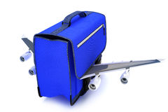 Traveling blue suitcase with wings Royalty Free Stock Photography
