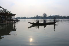 Traveling by boat in Bangkok. Royalty Free Stock Photography