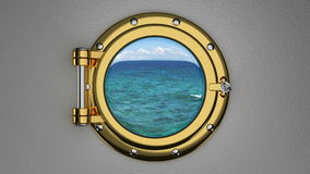 Traveling by the boat 3D animation. View through the ship porthole 3D animation stock video
