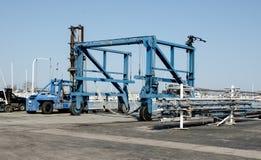 Traveling boat hoist at the marina. Royalty Free Stock Photography