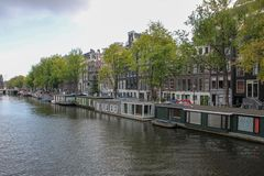 Traveling building ,historical , amsterdam stock image