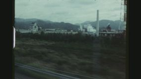 Traveling By Bullet Train In Japan. JAPAN, APRIL 1978. Traveling By High Speed Train From Kyoto To Mount Fuji. Landscape View Passing By stock video footage