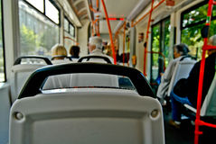 Traveling by bus. In a crowded city can become a problem. Traveling it' is an adventure Royalty Free Stock Photo