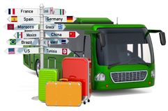 Traveling by Bus concept. Bus with suitcases and signpost, 3D rendering stock photo