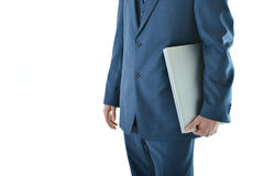 Traveling business man with laptop Royalty Free Stock Image
