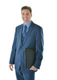 Traveling business man. Standing with a portfolio or candidate going for interview Stock Images
