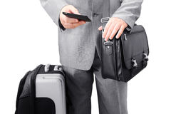 Traveling Businessman Calling by Phone Royalty Free Stock Image
