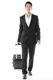 The traveling businessman. The excited traveling businessman with his traveling bag Royalty Free Stock Image