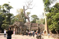 Traveling in Cambodia. Visiting the ancient temple Stock Photo