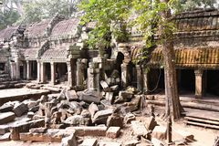 Traveling in Cambodia. Visiting the ancient temple Royalty Free Stock Images