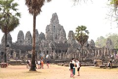 Traveling in Cambodia. Visiting the ancient temple Stock Photography