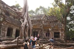 Traveling in Cambodia. Visiting the ancient temple Stock Photos