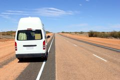 Traveling camper van desert outback, Australia Royalty Free Stock Photos