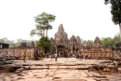 Traveling in Canbodia. Traveling in Cambodia visiting the ancient temple Stock Photo