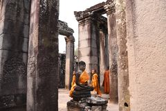 Traveling in Canbodia. Traveling in Cambodia visiting the ancient temple Stock Photography