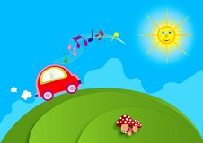 Traveling by car. Singing and having fun stock illustration