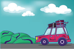 Traveling Car. Pink traveling car with suitcases on the roof driving into a hilly distance Royalty Free Stock Image