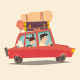 Traveling by car. Father driving car. Happy family summer vacations. Tourism, cartoon character family Royalty Free Stock Photo