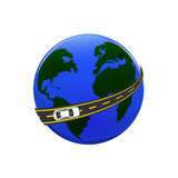 Traveling by car. The globe, the road, the car. illustration Stock Photography