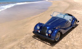 Traveling by car. A car on resort seashore in a sunny day. 3d render Royalty Free Stock Photo