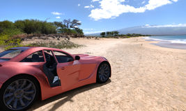 Traveling by car. A car on resort seashore in a sunny day. 3d render Royalty Free Stock Images