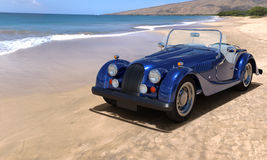 Traveling by car. A car on resort seashore in a sunny day. 3d render Royalty Free Stock Photos