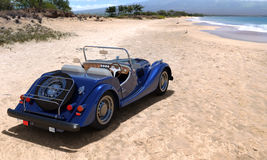 Traveling by car. A car on resort seashore in a sunny day. 3d render Stock Photo
