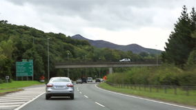 Traveling by car on roads of Ireland stock footage