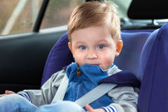 Traveling in the car safety seat Stock Photos