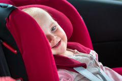 Traveling in the car safety seat Stock Image