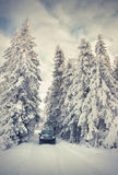 Traveling by car in еру snowy forest Stock Photo