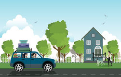 Traveling by car. royalty free illustration