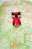 Traveling by car on world map Royalty Free Stock Photos