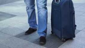 Traveling with carrier case stock footage